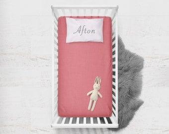 Fitted Crib Sheet Melon. Flat Crib Sheet. Crib Sheet. Toddler Sheet. Baby Sheet. Solid Pink Fitted Sheet. Crib Bedding. Melon Fitted Sheet.