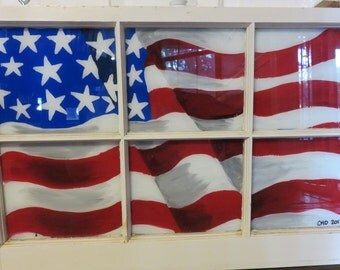 Hand Painted Window, Painted Window, American Flag Painting, Flag Painting, Red White and Blue, Old Glory