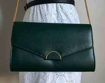 Vintage ANDE Green Leather Evening Clutch Handbag Purse
