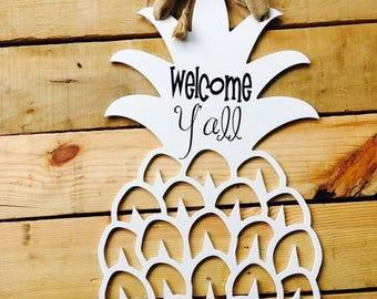 Welcome Y'all Large White Wooden Pineapple Door Hanger