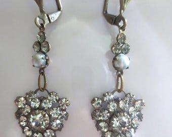 Art Nouveau Art Deco earrings Edwardian vintage style crystal drop earrings dainty pearl crystal drop earrings