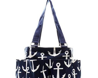 Personalized Navy Blue Anchor Small Zipper Top Caddy Utility Tote * Monogrammed  Organizer Tote * Custom Embroidered with Name or Monogram