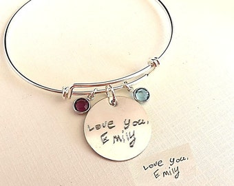 Custom Handwriting Jewelry Expandable Sterling Silver Bracelet / Adjustable Actual Handwriting Bracelet with birthstone Large Coin  Memorial