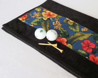 Ladies Golf Towel - Floral Golf Towel, Women Velour Terry Golf Towel, Golfer Gift, Sports Towel, Gift for Her