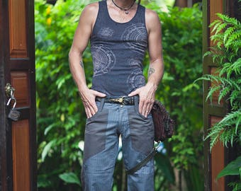 Basic Pants - Gray Pinstripes, Small, Burning Man, Hipster, Mens Pants, Pinstriped Pants, Festival Clothing, Gift for Boyfriend, Snap Pants