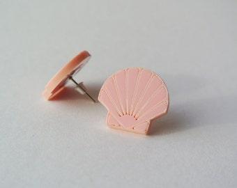 Pastel Shell Stud Earrings - mermaid - nautical - seaside - beach