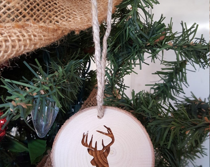 Deer Christmas Ornament - Engraved Wood Slice Ornament - Personalized Ornament