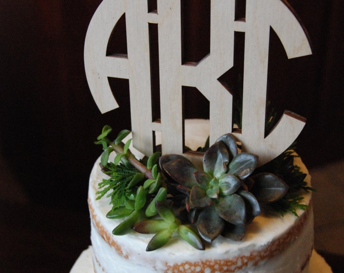 Wedding Cake Topper - Personalized Cake Topper - Birthday Cake - Initial Cake Topper - Painted