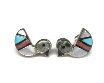Vintage Zuni Sterling Duck Stud Earrings
