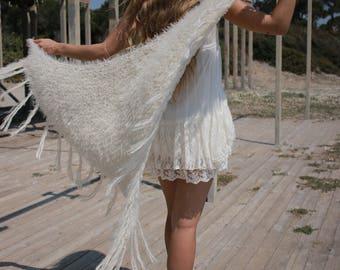 Wedding shawl, faux fur shawl, hand knit bridal wrap, bridesmaid shawl, bridal shawl, Ivory wedding shawl, bridal cover up, handmade shawl