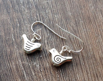 Silver bird earrings, birdie earrings, nature woodland earrings, cute charm earrings, uk shop, perfect gift, under 12