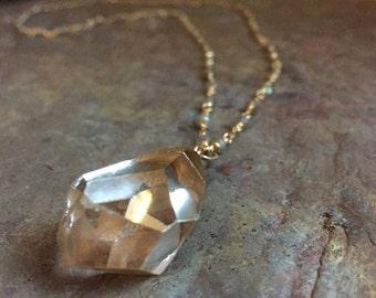Labradorite gemstone and quartz crystal pendant gold necklace