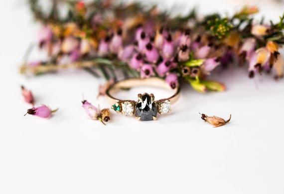 Rose cut black diamond cluster engagement ring, moissanite engagement ring, 14k gold cluster engagement ring