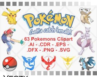 Pokemon svg, Pack of 63 vectors, pokemon svg files, svg bundle, Pokemon Go, Pokemon Vector, svg files, svg files for cricut.