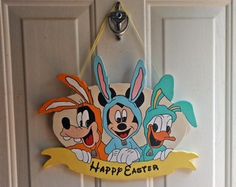 Mickey and Friends Happy Easter Sign | Mickey Goofy and Donald Easter Decor