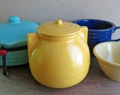 Garden City Pottery Lidded Crock or Jar, Kitchen Storage Canister Mustard Yellow, Cookie Jar