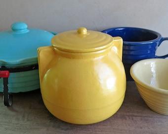 Garden City Pottery Lidded Crock or Jar, Kitchen Storage Canister Mustard Yellow, Cookie Jar