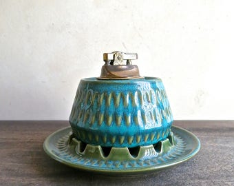 Robert Maxwell Ceramics Lighter and Ashtray Set, Stoneware Handcrafted Designs California, MCM Pottery