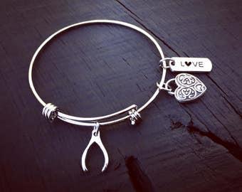 Wishbone Charm Bracelet | Wishbone Jewelry | Hope Jewelry | Jewelry Gift For Wishbone Lover | Stackable Bangle Bracelet | Charm Bangle Gift