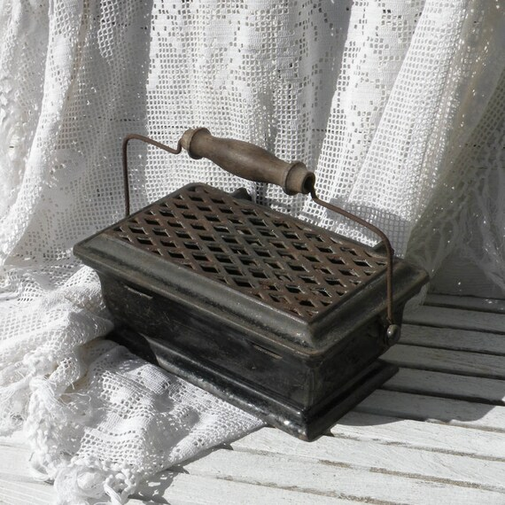 French antique iron foot warmer, French antique, French vintage, country home, shabby chic, French farmhouse, foot warmer, country cottage