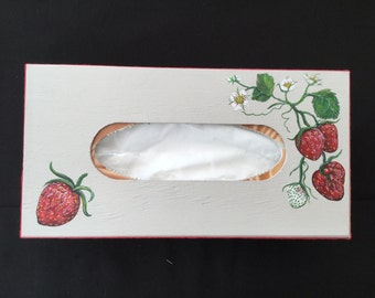 Hand painted Strawberry Tissue box holder