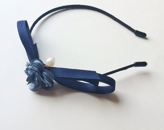Navy Floral Hettie Headband - Party headband - Wedding headband - Navy headband - Ribbon Bow - Dusty blue headband - Blair Waldorf