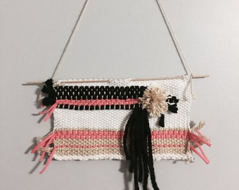 Woven wall hanging - coral, tan, white and black