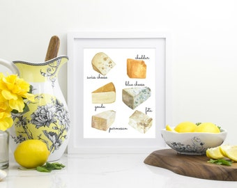 Cheese Varieties - Watercolor Cheese Print - Types Of Cheese Chart - Cheese Illustration - Kitchen Art - Cheese Print - Dining Room Art