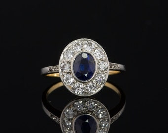 Art Deco natural sapphire and diamond halo cluster ring