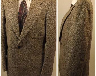 70s Chevoit Tweed Men's Gray Sport Coat Size 40R