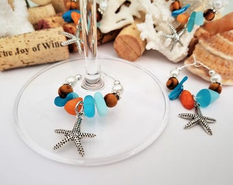 Starfish Wine Glass Charms - Beach Wine Charm Favors, Aqua Beach Table Decoration, Beach Bridal Shower Favors, Handmade by LasmasCreations.