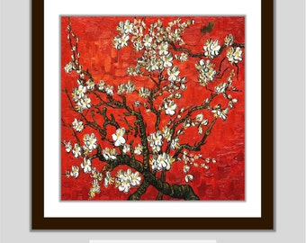 SALE Bathroom Bedroom Red Printable Wall Decor Van Gogh Art Print Almond Blossoms Flower INSTANT DOWNLOAD Picture 8x8 inch 1/2 price