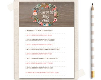 mom to be quiz game, baby shower quiz game, rustic game, vintage baby shower game, Instant Download baby shower game, shower printable, W1