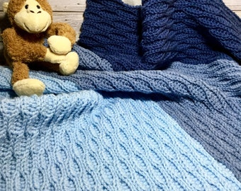 Ombré Blue Baby Blanket, Crochet Baby Blanket in Blues, Security Blanket for Babies, Baby Shower gift for Baby Boy