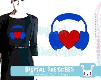 Headphones Love Music Machine Embroidery Design 3 Sizes