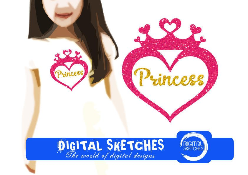 Princess Heart Cut File Svg Dxf From Digitalsketches On