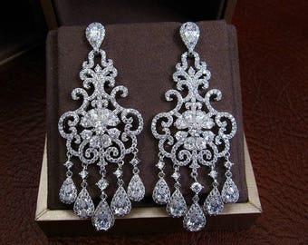 Chandelier bridal earrings, crystal chandelier earrings, statement bridal earrings, elegant bridal jewelry