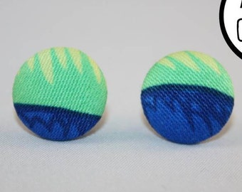 Green & Blue Fabric Covered Button Stud Earrings - Hypo-Allergenic Surgical Steel