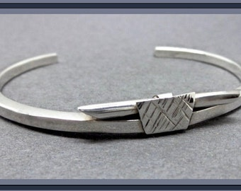 Unique Modernist Vintage Sterling Silver Cuff Bracelet with Abstract Trapezoid Centerpiece