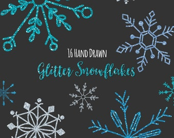 Snowflake Clipart, Digital Snowflakes, Glitter, Hand Drawn, Snowflake Graphics, Printable, Commercial Use