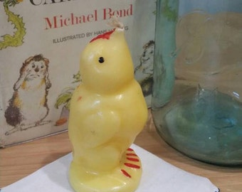 Vintage 1950s Baby Easter Chick Wax Candle Easter Decor