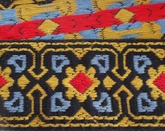 One yard Vintage Jacquard Ribbon Trim | Floral Ribbon Trim Tape~Geometric squares and flowers~Costume trim~yellow~blue~red