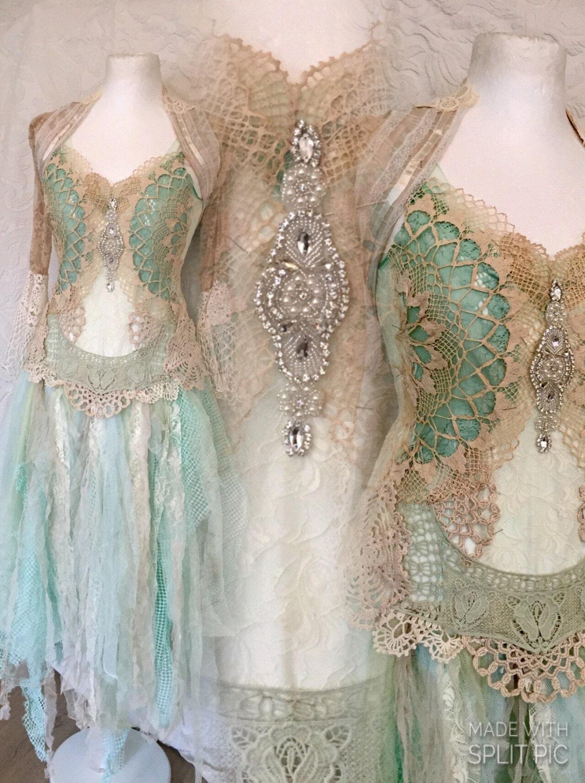Boho wedding dress aqua colors bridal dress for by RAWRAGSbyPK