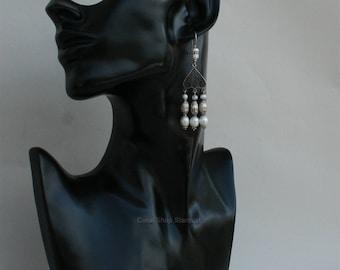 Long Dangle White Pearl Earrings, Freshwater Pearl Chandelier Earrings, Unique Filigree Earrngs, Solid Sterling Silver Earrings