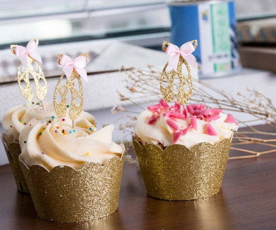 Ballerina Cupcake Toppers, Ballerina Shoes Party Decorations, Gold Glitter Ballerina Decorations