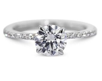 2.48 Carat  E/ SI2 Natural Certified Diamond Engagement Ring14K White Gold #J75585  FREE SHIPPING