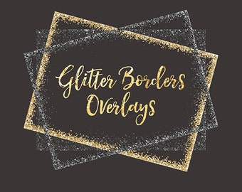 Glitter Borders Clipart Overlay: gold glitter, glitter overlays, glitter borders, glitter confetti, glitter frames, scrapbooking, glitter