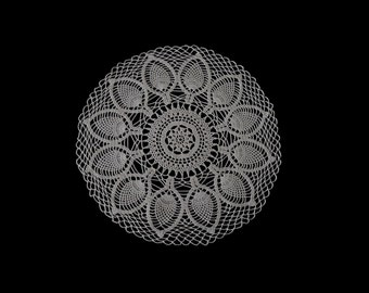 Vintage handmade crocheted doily centerpiece -- beige with a traditional thistle pattern and large netting -- 14.5 inches / 37 cm