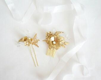 Gold Bridal Opal Accessories, Gold bridal Hairpiece, Garden Wedding Hair, Bridal Hair, Gold Wedding, Wedding Hair, Pearls Bridal Hair Comb