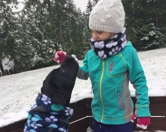 Add a matching neck warmer, headband, or infinity scarf to match your dog's neckwarmer snood; dog lover gift; pet parents gifts